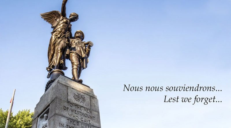 Remembrance Day Ceremony at the Cenotaph – Saturday, November 6th at 11 a.m.
