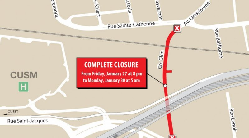 Turcot Project: Complete closure of route 136 east (A-720 east) – from January 27 to 30, 2017