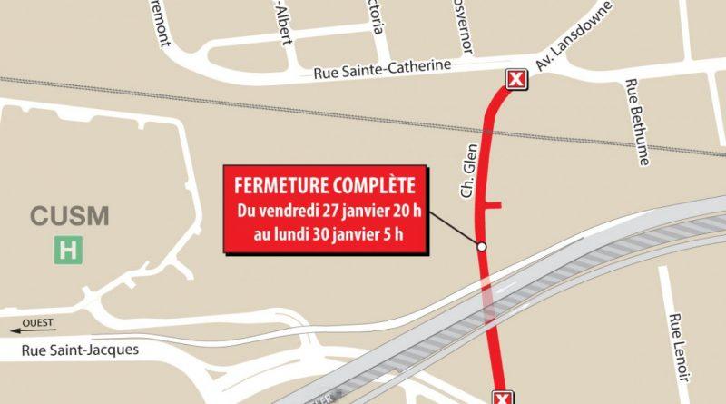 Projet Turcot : fermeture complète de la route 136 est (A-720 est) – du 27 au 30 janvier 2017