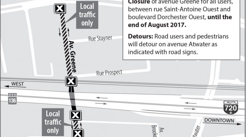Turcot Project: Closure of Greene Avenue – Starting in July until the beginning of September 2017