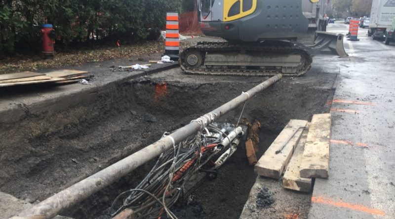 Infrastructure work from Bell Canada on Sherbrooke Street as of July 23