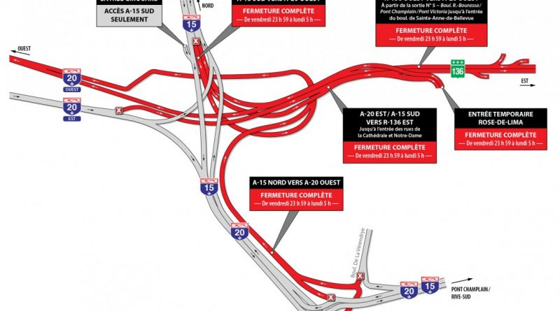 Turcot Project: major closures during the weekend of December 15
