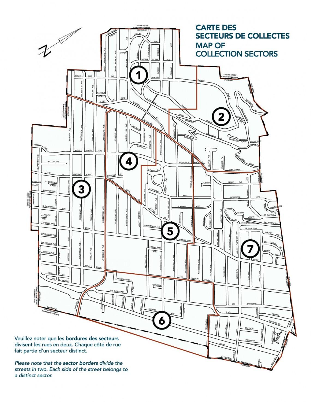 Carte des secteurs de collectes